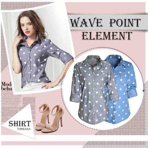 European Grand Prix cotton printed dots wave point long-sleeved blouses loose big yards ladies all match denim shirt