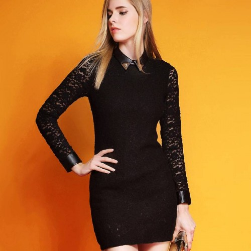 Europe station high-end brand Ms. long-sleeved dress autumn new style solid color elastic waist step skirt Ms.