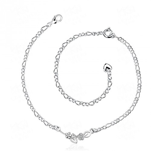 Ms. personalized jewelry discount low price beautiful flower shape silver anklets European market and the US market zircon accessories Promotions
