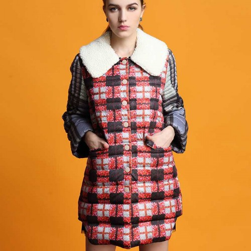 European stations Ms. autumn and winter fashion new style loose Long style lamb's wool Ms. pure wool collar down jacket