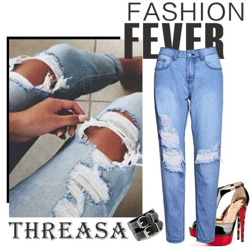 European market and the American market, Ms. installed new light-colored loose BF style fashion style jeans jeans trousers Ms.