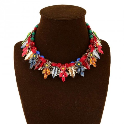 New models in Europe and the United States market popular gemstone flower shape exaggerated tassel braided rope necklace handmade jewelry accessories 5 colors
