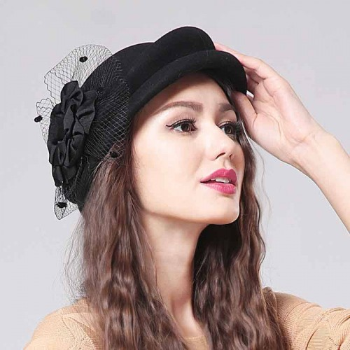 Popular new style complex Gubei Lei cap European market and the US market wool material Ms. autumn and winter hat child hat bow