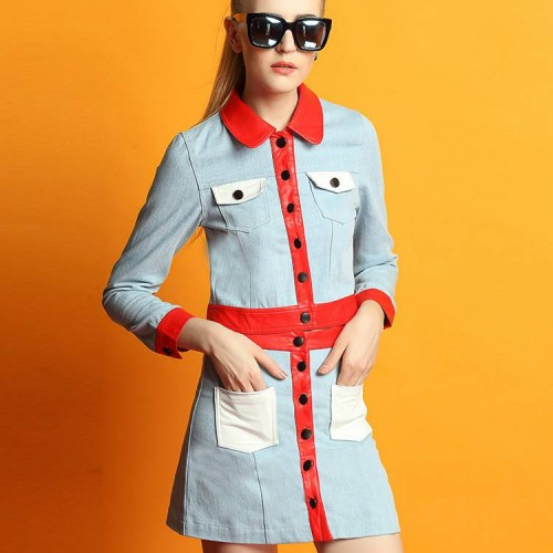 Ms. autumn and winter in Europe station new style solid color stitching cotton shirt bust skirt skirt suit jacket discount