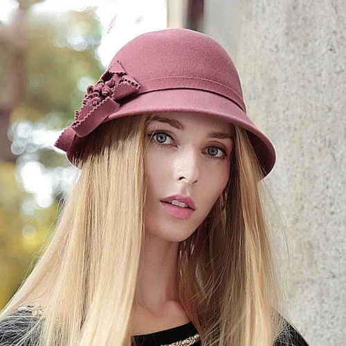 Ms. autumn and winter new style hat all match quality wool hat warm hat flower hat Material