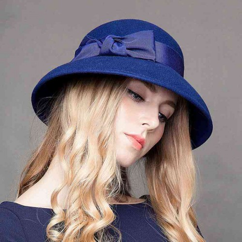 Ms. autumn and winter hat popular in Europe and the US market fall and winter wool material bow hat basin type hat