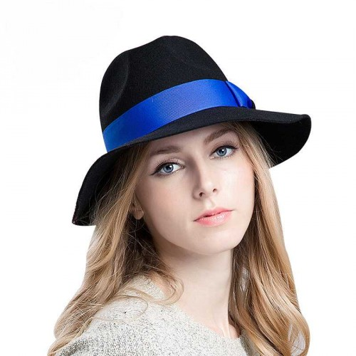 The new autumn and winter style hat lady classic European market and the US market jazz hat brim big hat lady autumn and winter high-quality wool material
