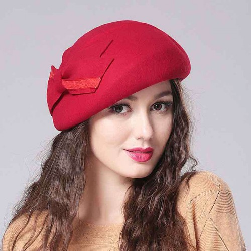 Ms. autumn and winter hat handmade bow Material quality wool beret cap hat DISCOUNTS