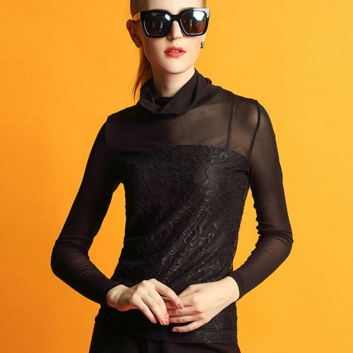 Autumn and winter new models in Europe and the US market, Ms. temperament repair tall lace collar long-sleeved shirt stitching bottoming shirt minimalist Ms.
