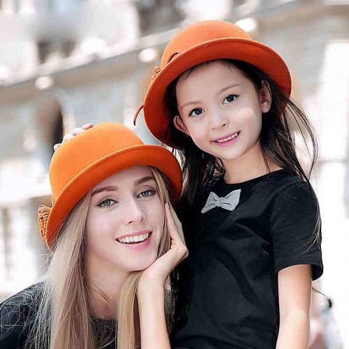 Popular children hat lady hat autumn and winter wool material European market and the US market cap parent-child mother and daughter fashion basin type hat