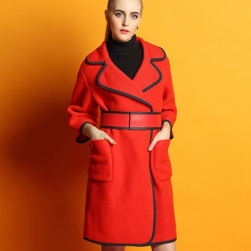 Autumn new models loose long-sleeved style edging material lapel wool coat ladies coat