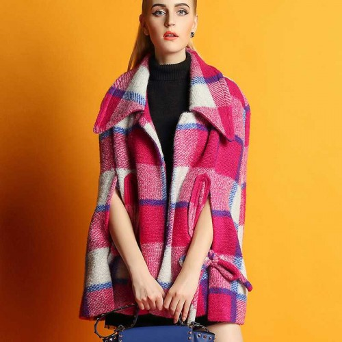 The new autumn and winter retro colorful plaid loose sheep wool coat jacket material