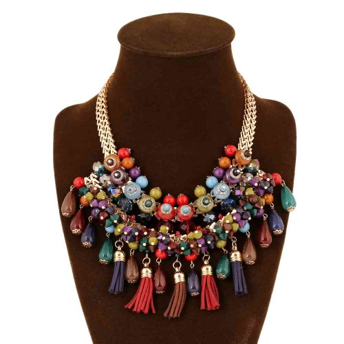 Hot new models in Europe and the US market necklace fashion drop-shaped diamond tassel lady short style necklace accessories discounts