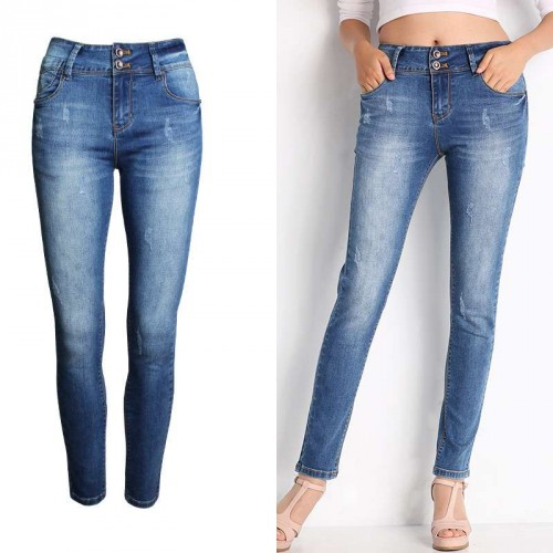 Promotional new models of the European market and the US market in the waist Slim frayed denim trousers Ms. Slim pencil pants