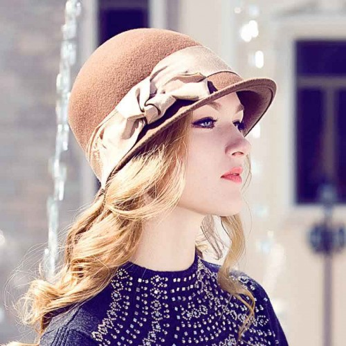 Popular fashion warm wool hats and caps Ladies European market and the US market wool material leisure bow hat