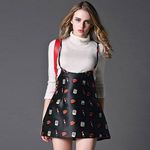 Ms. spring new style jacquard fabric sling section stitching elastic waist step skirt dress