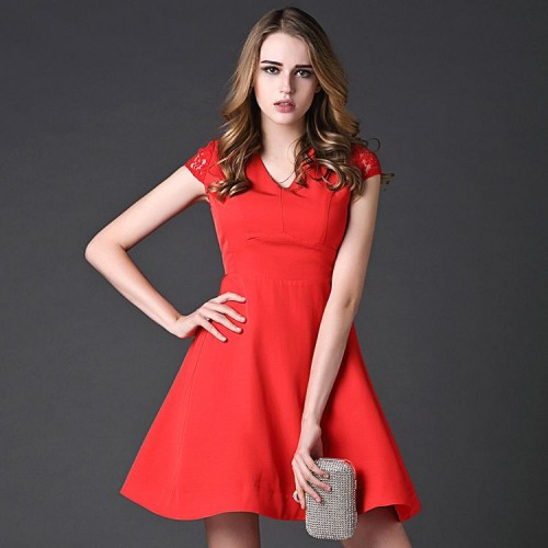 European stations spring models elegant ladies temperament solid color stitching V-shaped collar short-sleeved A-shaped skirt red lace dress