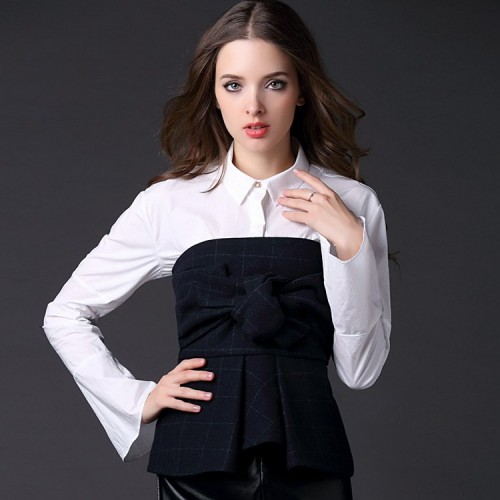 Spring new style ladies stitching Slim long-sleeved shirts Ms. bow piece