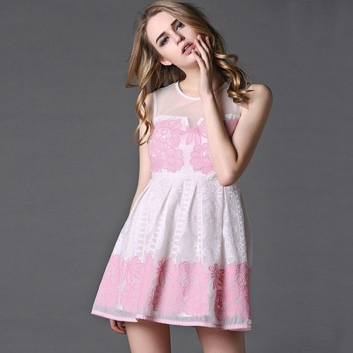 Spring new models in Europe station ladies fashion printed round neck sleeveless silk yarn A-shaped skirt dress lady
