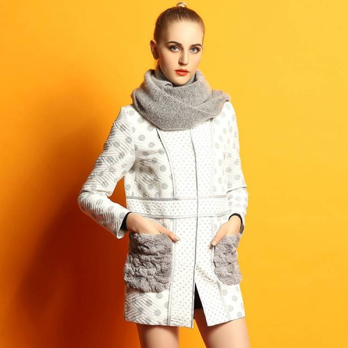 Spring new models in Europe and the US market female Shibo dot pattern long style simple round neck long-sleeved jacket stitching Ms. discounts