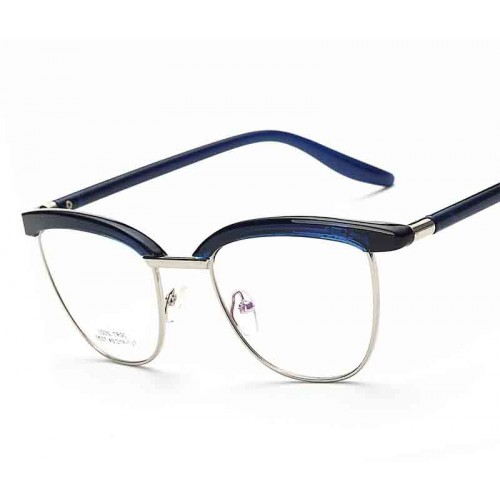 2537 new style of popular ultra-light glasses plated blue retro plain mirror glasses can be equipped with myopia