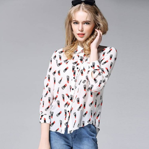 Spring new models in Europe and the United States market, the low prices of the original single ladies fashion printed silk shirt lapel loose long-sleeved cardigan