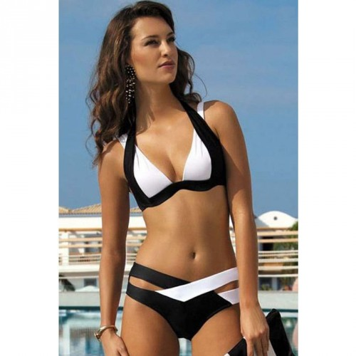 Hot selling swimwear sexy suspenders no hollow steel prop with a chest pad split bikini swimsuit 41249