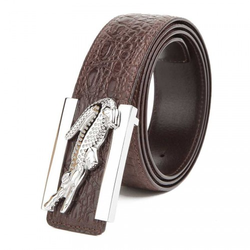 Crocodile copper smooth buckle men's leather belt top material leather belt men's belt business