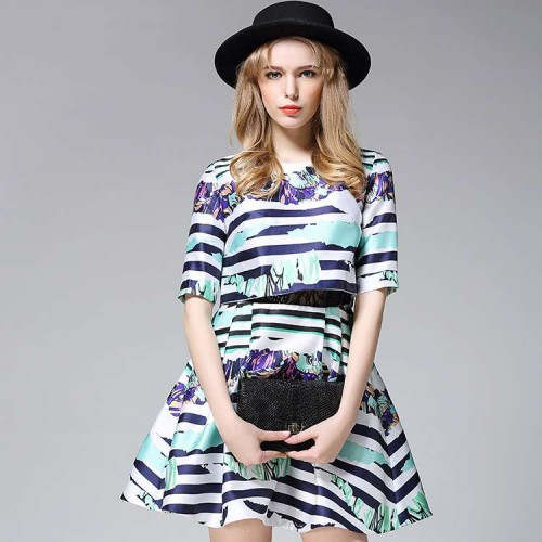 Ms. spring new models in Europe and the US market high-end brand Ms. fashion printed round neck A-shaped skirt dress discount