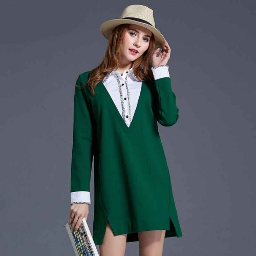 European market and the US market large size women's spring new style body overweight ladies lapel hit color stitching irregular long-sleeved dress
