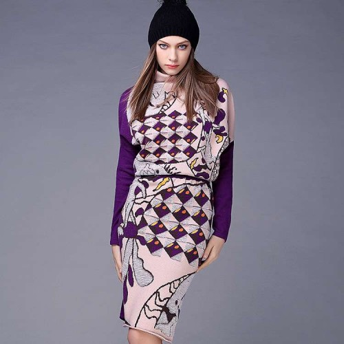 Spring and summer new style high-necked jacquard knit blouse sleeves loose package hip skirt suit