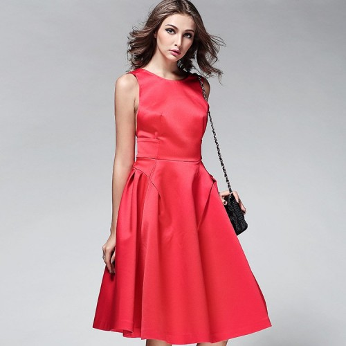 Spring and summer in Europe and the US market Slim slim solid backless sleeveless dress big swing dress zipper