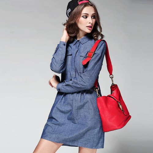 Denim dress new spring and summer styles in Europe and the US market fashion casual all match solid color stitching long-sleeved shirt collar A-shape shape