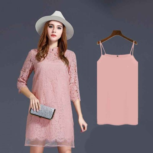 Large size women in Europe and the US market Autumn new style body overweight wind lace dress dress Dress