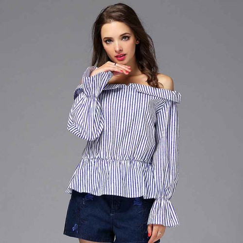 Summer new style irregular vertical stripes stitching loose sleeve edge shape of the word collar shirt cuffs