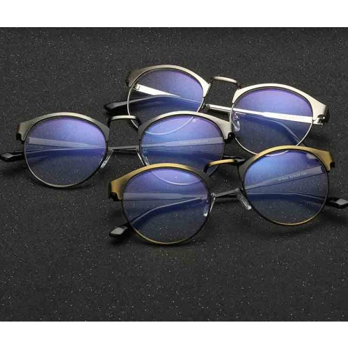 1602 new style anti-blue glasses vintage metal round box plain mirror frame glasses tide