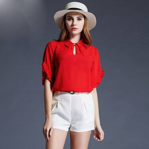 European market and the US market large size women's summer new style ladies loose overweight Western style red slim irregular chiffon sleeve T-shirt