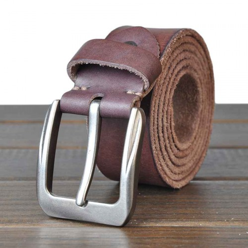 Hot sell men's leather belt first layer of top material washed leather cowboy belt solid belt fast delivery