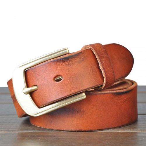 Popular new style men's leather lead layer of leather handmade vintage copper pin buckle belt Belt youth