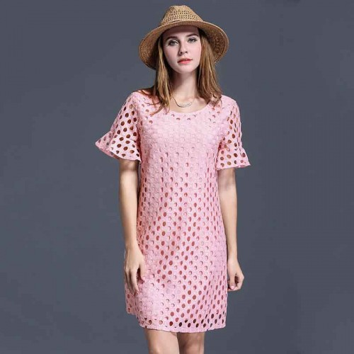 Partial figure large size women fat lady summer clothing new models 200 pounds of fertilizer to increase the hollow dot lace dress discount