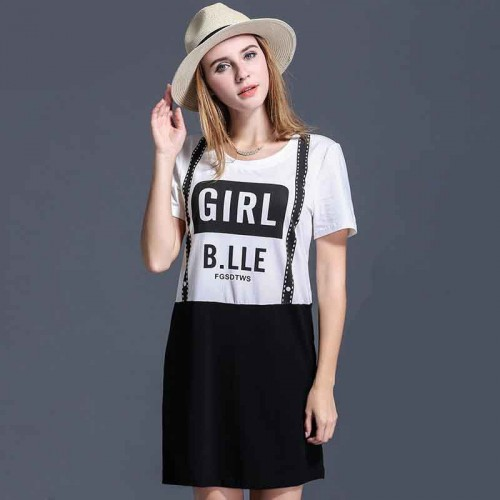 European market and the US market large size women promotional discounts overweight body strap piece Ms. printing summer clothing short-sleeved dress