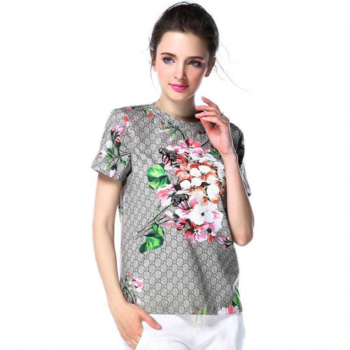 Europe and the United States market new spring and summer fashion styles lady bee prints all matching beaded cotton t-shirt high