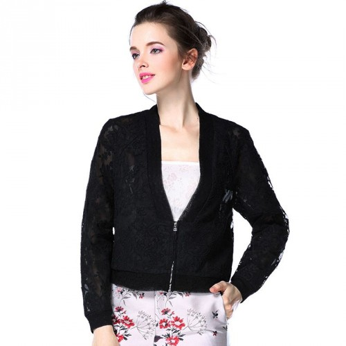 New spring and summer in Europe and the US market fashion Slim lace shirt embroidered lace jacket Slim