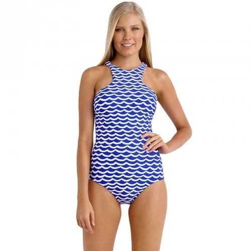 European market and the US market high-necked blue and white halter swimsuit steel prop no cotton cup detachable piece swimsuit seaside resort 41854