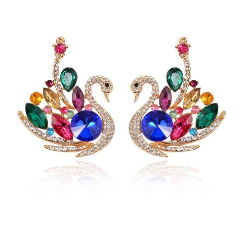 New style fashion swan shape earrings inlaid stones earrings super beautiful clothing accessories fast delivery
