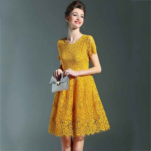 Europe station summer new style fashion lace short-sleeved round neck dress in Europe and the US market a word skirt ladies style discount