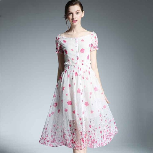 Europe station new models of high-end women's European market and the US market short-sleeved print dress sexy straight lines shaped collar dress big skirt