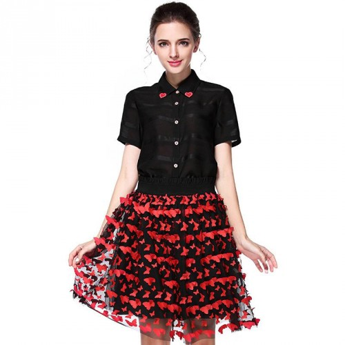 Summer new models in Europe and the US market fashion cute collar shirt butterfly princess dress stereoscopic flower skirt suit