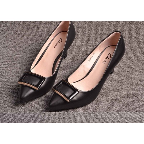 Ms. autumn and winter shoes, brand new style leather pointed high-heeled shoes low price fast delivery