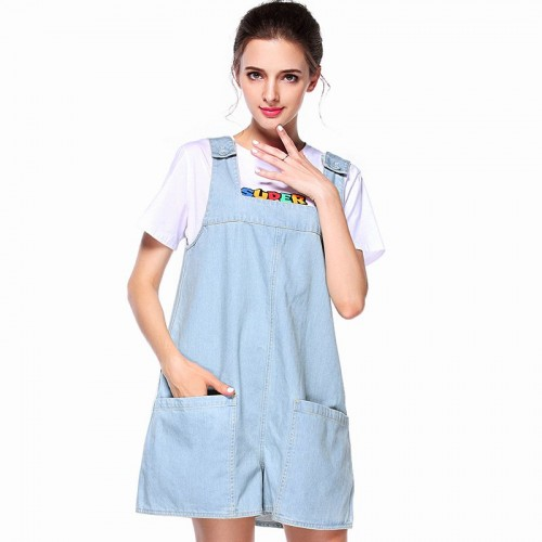 Summer new models in Europe and the US market fashion all match loose denim overalls shorts Ms.